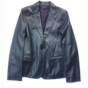 Italian Leather Jacket Adrienne Vittadini Size 8